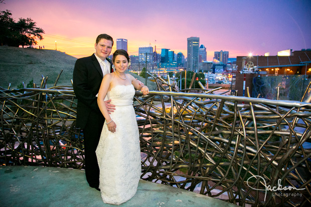 bride and groom in the bird's nest of AVAM in Baltimore