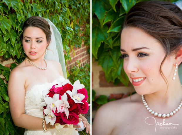 portrait of bride on brick and ivy wall