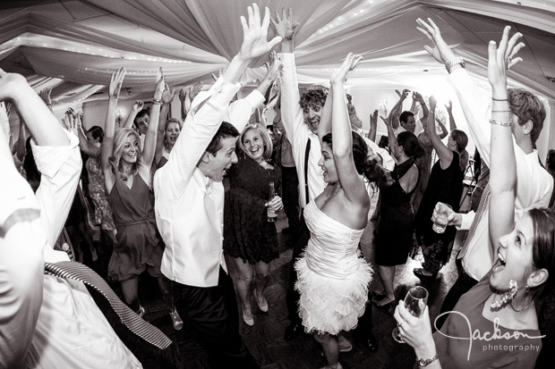 wedding reception dancing in black and white