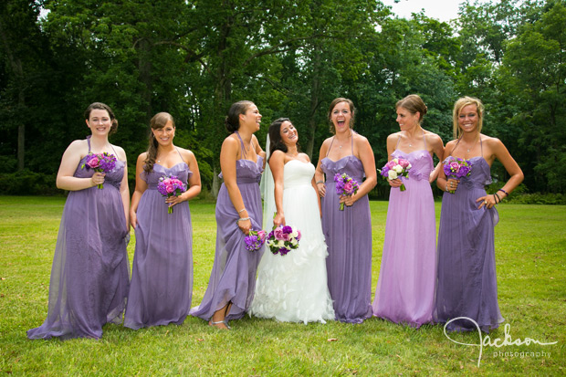 bride and bridesmaids purple dresses
