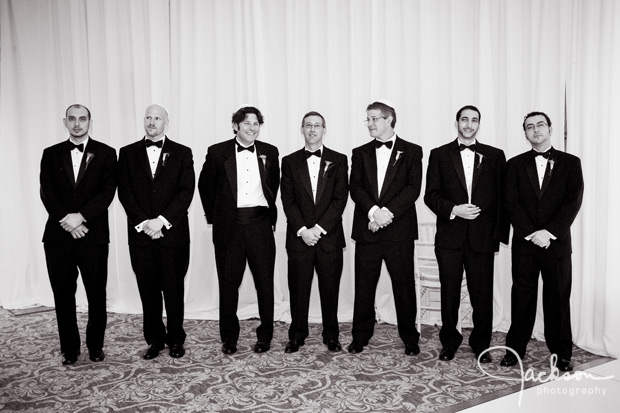 seven groomsmen at the ceremony