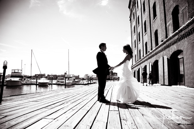 wedding couple at fells point pier