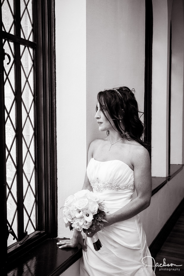 bride looking out chase court window