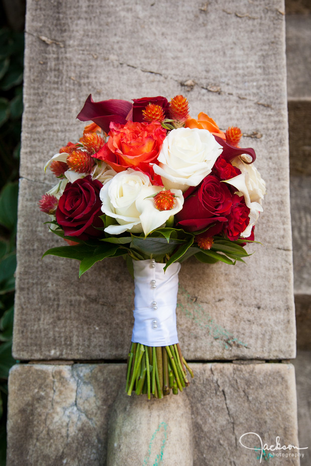 red yellow white bridal bouquet