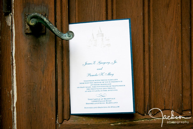 invitation on wooden door