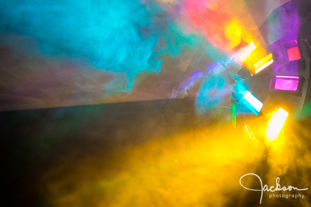 colored lights and smoke