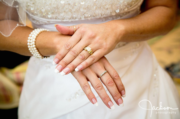 bride's hands with rings