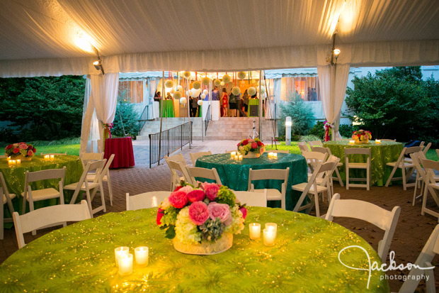 mitzvah party tables in green