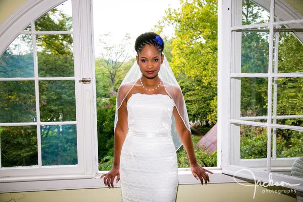 bride in front of garden window