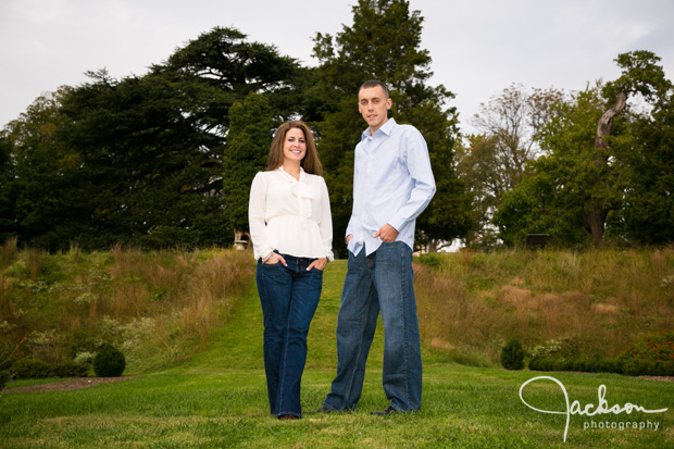 couple engaged on terraced garden