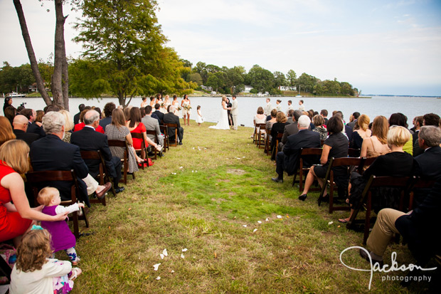 wedding ceremony by the bay of Annapolis
