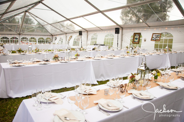 wedding reception under clear top tent
