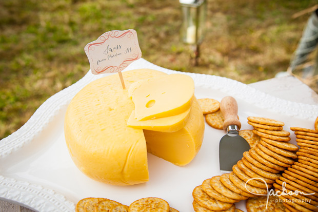 cheese table at wedding reception