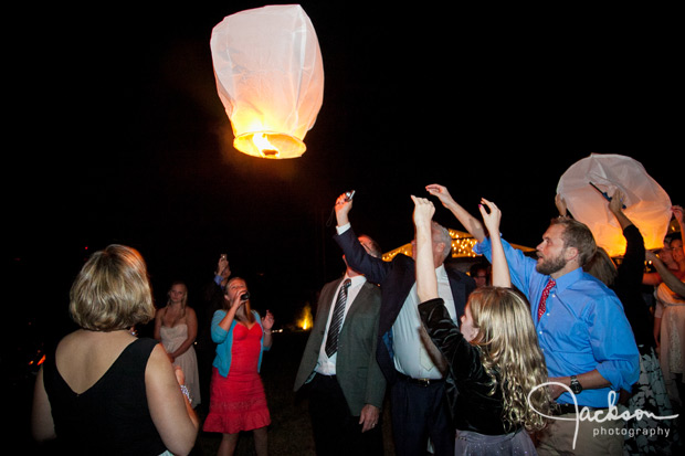 paper balloons at wedding reception