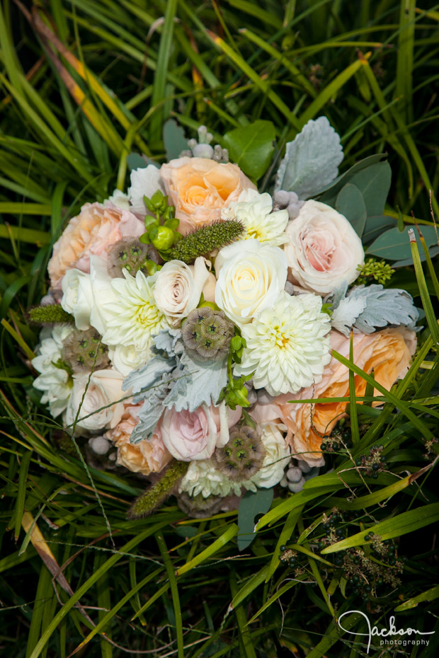 bridal bouquet of green brown and white