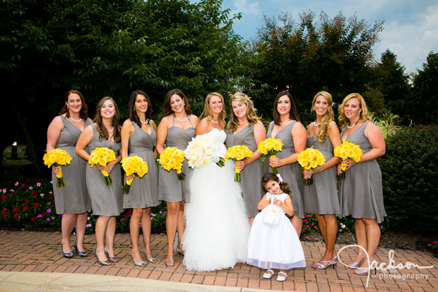 bride and bridesmaids in grey and yellow