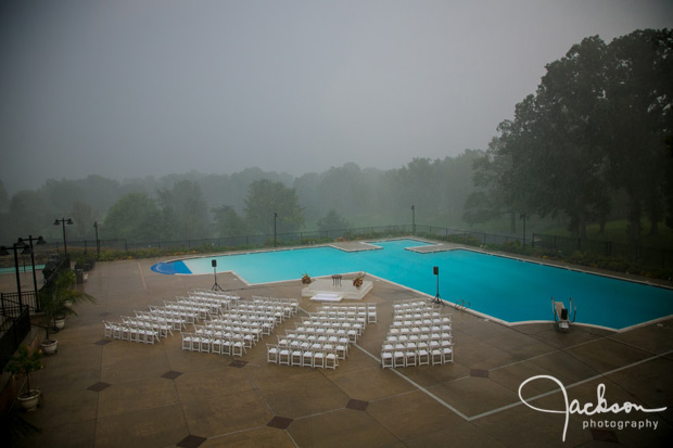 rain soaked ceremony site