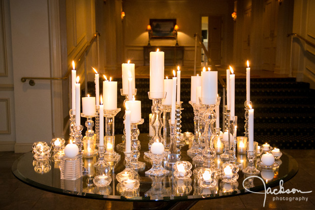 table filled with crystal and candles