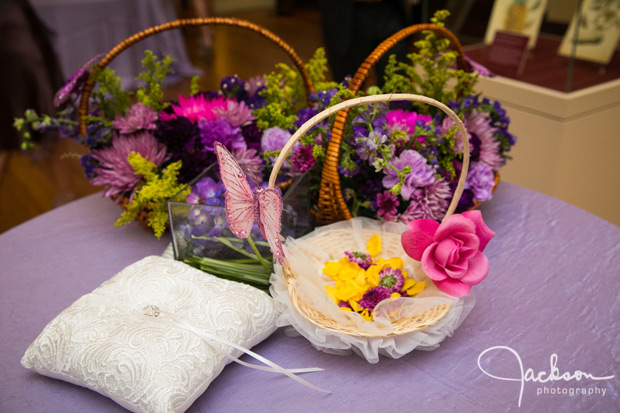 ring pillow and flower girl yellow petal basket