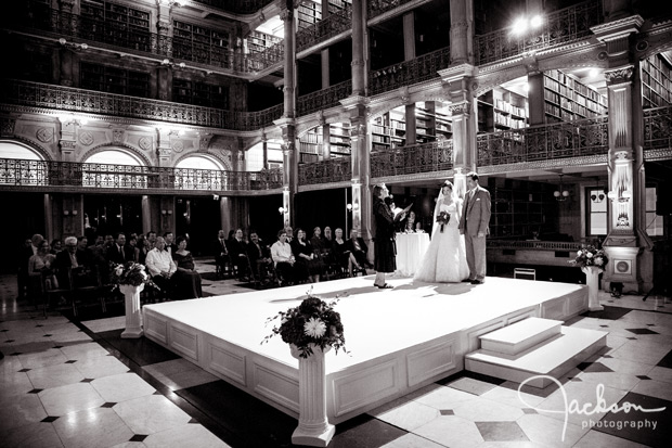 large stage for peabody wedding ceremony