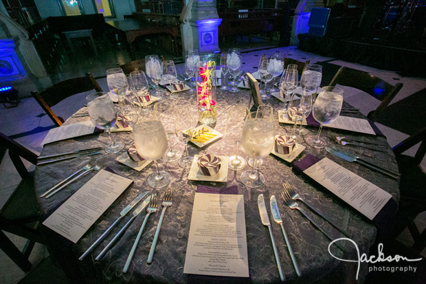 silver and purple reception table