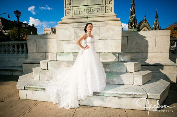 bride in front of lafayette sculpture