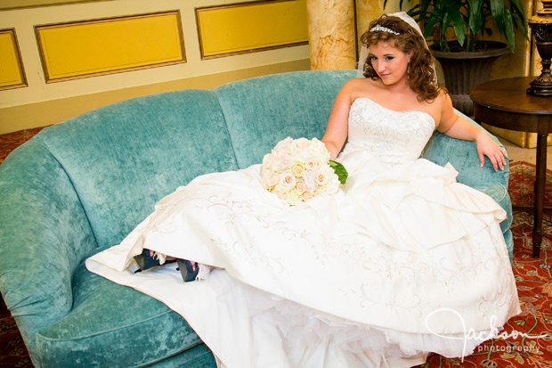 bride on aqua antique couch