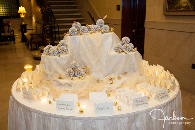decorative wedding table in gold and white