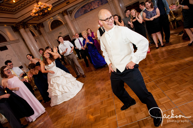 bride and groom dancing to gangnam style