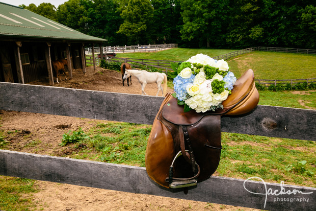 flowers on horse saddle