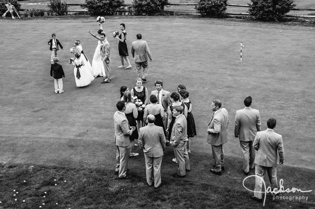 black and white overhead photo of bridal party